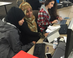 South Seattle College students Fatima Adam (left) and Hodan Mubarak (middle) want to study to become a psychiatrist and nurse, respectively. (Photo by Roukhya Ouedraogo)