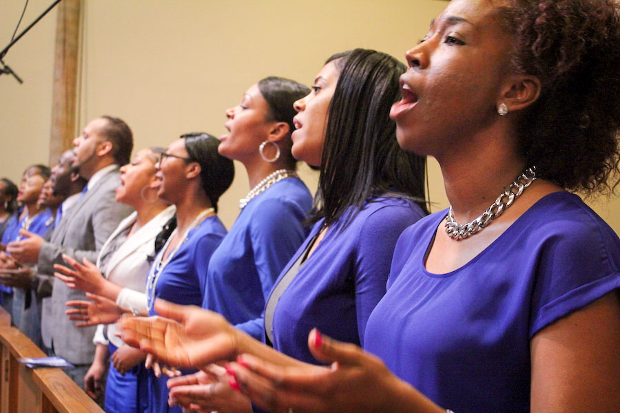 A choir sings at Mt. Zion Baptist Church during a celebration Friday in honor of Martin Luther King Jr. (Photo by Sharayah Lane.)