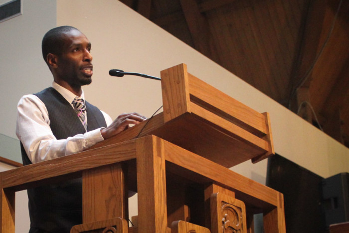 Marcus Green, executive director of the South Seattle Emerald, was the keynote speaker at the 33rd annual Martin Luther King Jr., Community Celebration on Friday. (Photo by Sharayah Lane.)