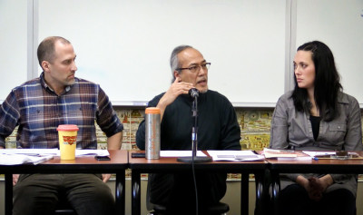 From left, Jon Greenberg, Rogelio (Roger) Rigor, and the author. (Photo by Angela Flores)