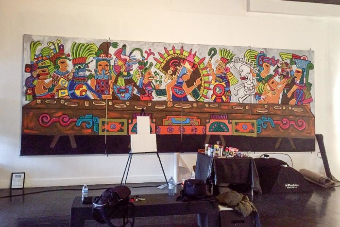 """""""Aztec Supper"""" is Ernesto Ybarra's take on The Last Supper. (Photo by Cristy Acuna.)"""