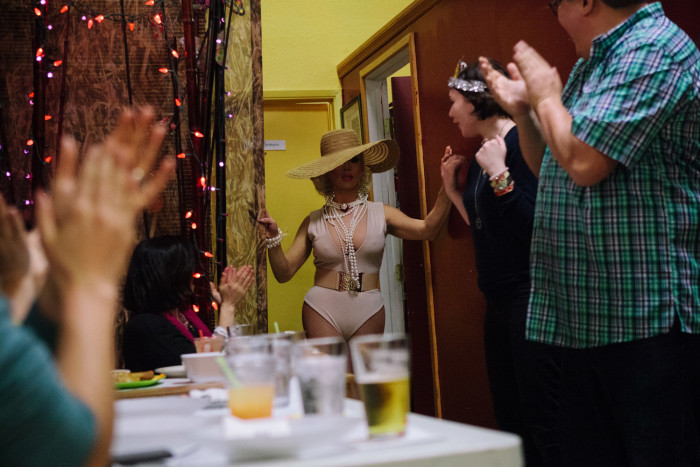 Drag queen Atasha Manila makes an entrance at her final show Friday, January 29, 2016 at Inay's Asian Pacific Cuisine in Beacon Hill. (Photo by Jovelle Tamayo.)