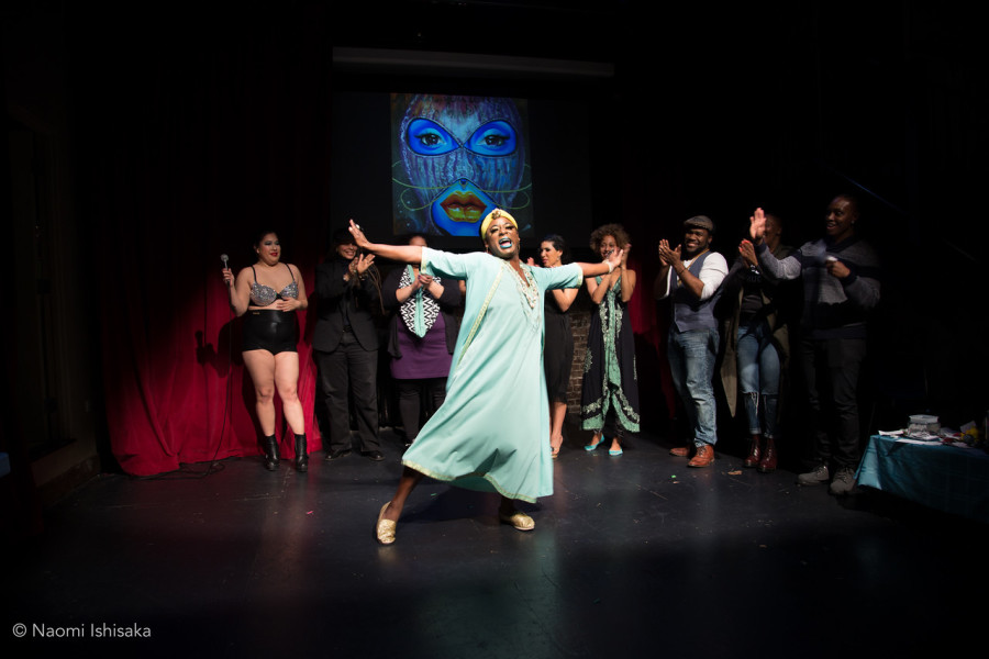 """The cast of """"2155: An Exploration of Afrofuturism in Performance Art,"""" which was held over two weekends at Gay City Arts. (Photo by Naomi Ishisaka for Imani Sims.)"""