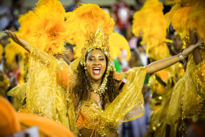 Last year's Carnival in Rio de Janeiro. If you go out dressed like this in Seattle, people might stare. (Photo from Flickr by NateClicks)