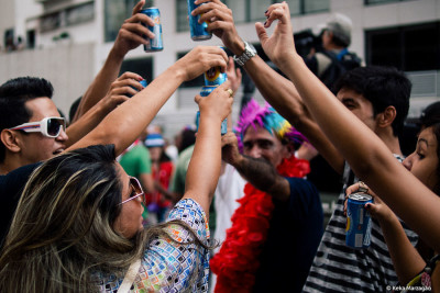 Drinking in public at Carnival in Ipanema, Brazil. In Seattle, you'll have to stick to pub crawls. (Photo from Flickr by Keka Marazago)