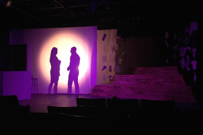 "Maggie Lee (Mrs. Yi) and Jason (Christian Ver) behind the screen during a weekend dress rehearsal at The Annex Theatre a few days before the ""Do It For Umma"" premiere."