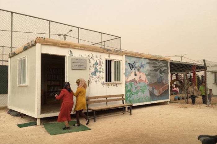 A makeshift library at Za'atari Refugee Camp in Jordan. (Photo courtesy of Karen Fisher, University of Washington Information School).