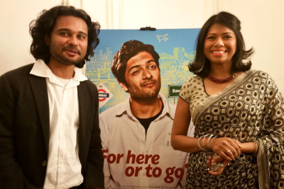 """The author, at right, with """"For Here or To Go?"""" writer and producer Rishi Bhilawadikar."""