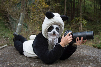 Vitale in her urine-scented panda suit. (Courtesy photo)