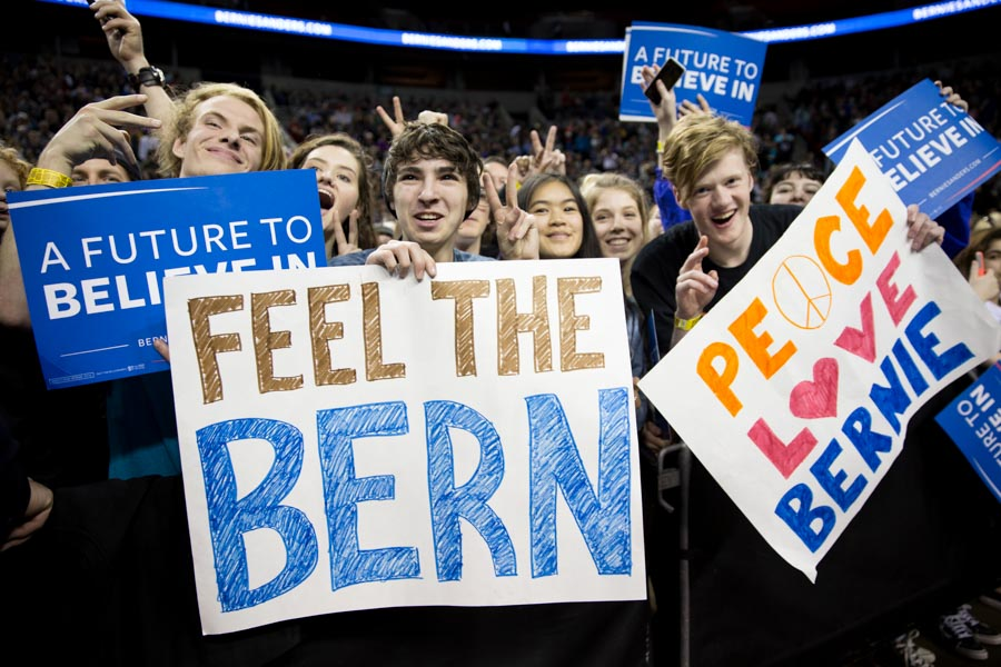 Young Bernie Sanders supporters rallied at Key Arena on Sunday. (Photo by Alex Garland)