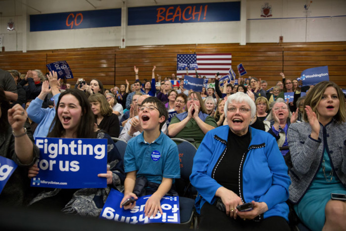 Supporters of Hillary Clinton packed Rainier Beach High School's gym this week. (Photo by Alex Garland)