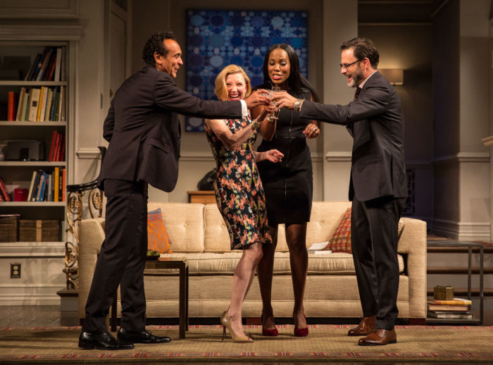 Bernard White (Amir), Nisi Sturgis (Emily), Zakiya Young (Jory) and J. Anthony Crane (Isaac) in Disgraced (Photo by Liz Lauren)