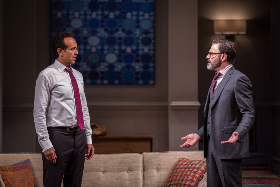 Bernard White plays Amir and J. Anthony Crane plays Isaac in the Seattle Rep's production of Disgraced. (Photo by Liz Lauren)