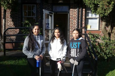 Camila Cano, Daisy Cortez, and Reina Angel, outside the South Park Neighborhood Center where there Duwamish Valley Youth Corps classes are held. (Photo by Barbara Clabots)