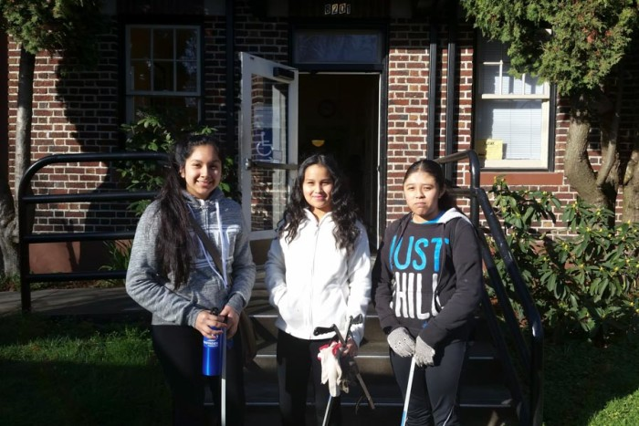 Camila Cano, Daisy Cortez, and Reina Angel, outside the South Park Neighborhood Center where their Duwamish Valley Youth Corps classes are held. (Photo by Barbara Clabots)