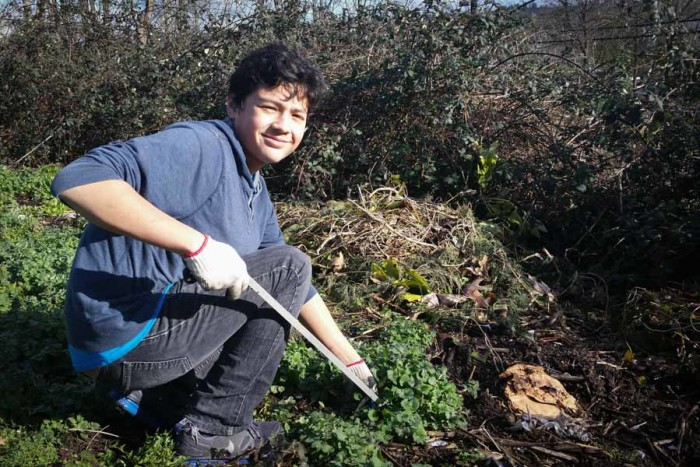 Fernando Buitran gets his hands dirty working with the Duwamish Valley Youth Corps. (Photo by Barbara Clabots)