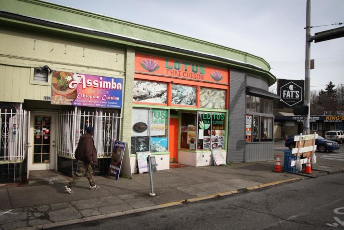 At the corner of MLK and Cherry in the Central District, businesses that have been in the neighborhood for decades are side-by-side with newcomers. (Photo by Alex Stonehill)