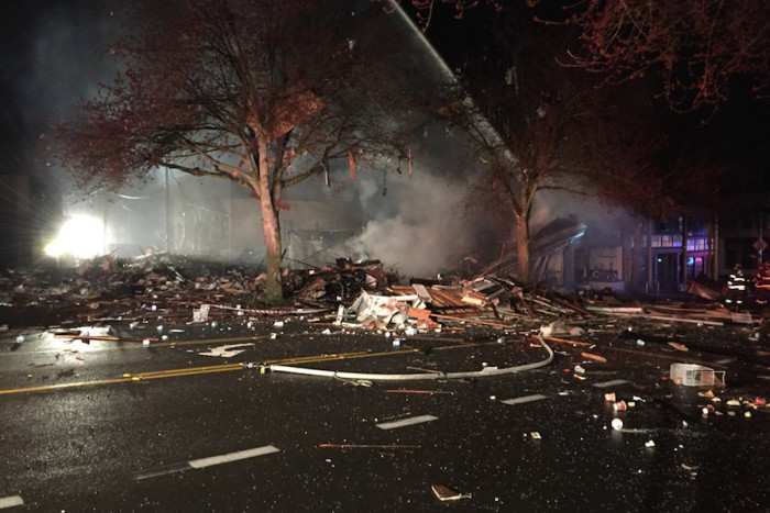 An explosion destroyed several businesses and injured Seattle firefighters in the Greenwood neighborhood Wednesday. (Photo by Seattle Fire Department.)