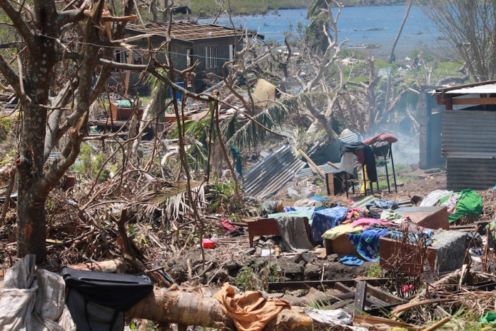 In Verevere Village, Ra Province, 95 percent of homes are destroyed. (Photo courtesy of Janet Lotawa)