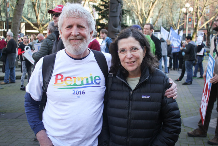 "John Shaw and Marlene Koltin at Occidental Park for the beginning of the ""March for Bernie 2"" on Saturday. (Photo by Sharayah Lane)"