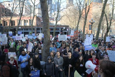 """Sanders' core demographic, young white men, also turned out in force at the """"March for Bernie 2."""" (Photo by Sharayah Lane)"""