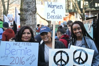 """Sanders supporters gather at Occidental Park before the """"March for Bernie 2""""on Saturday. (Photo by Sharayah Lane)"""