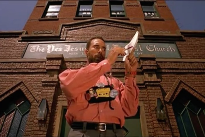 "Roger G. Smith as Smiley in Spike Lee's ""Do the Right Thing."" Screenshot from MetaCafe.com clip."