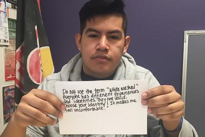 "Leo Carmona's message to people who use the term ""whitewashed."" (Photo by Elizabeth Alvarado)"