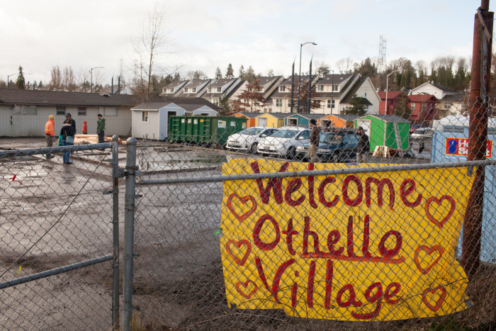 Volunteers helped build the tiny houses at Othello Village, a homeless encampment located in Seattle's Rainier Valley. (Photo by Matt Mills McKnight for the South Seattle Emerald.)