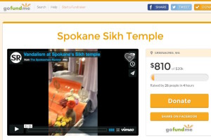 The Spokane Interfaith Council started a GoFundMe to help pay the damages at the Sikh Temple of Spokane. (Screenshot of GoFundMe.)