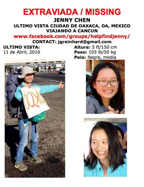 Help Find Jenny poster, circulated after Seattle resident Jenny Chen went missing abroad in Mexico