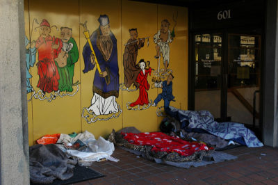 Homelessness in Chinatown during Christmas, taken by Wonderlane on Dec. 26, 2009