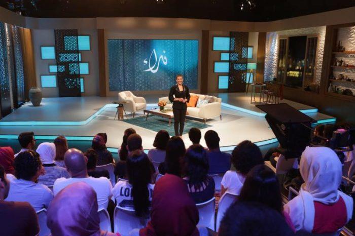 Host Zainab Salbi on the set of Nida'a, an Arab world talk show. (Photo via Facebook.