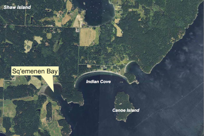 Aerial photo of Squaw Bay with the proposed name change of Sq'emenen Bay. (Photo illustration by the Washington Department of Natural Resources.)