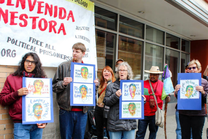 Supporters of Nestora Salgado gathered in front of the Mexican consulate building in downtown to call for the investigation into the disappeared 43 students from Ayotzinapa. (Photo by Venice Buhain.)