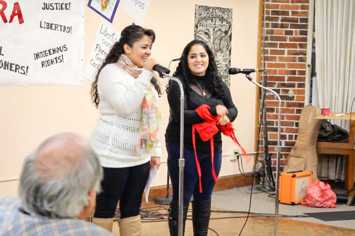 Nestora Salgado and her daughter Gris Rodriguez speak at a celebration held at New Freeway Hall in Columbia City. (Photo by Venice Buhain.)