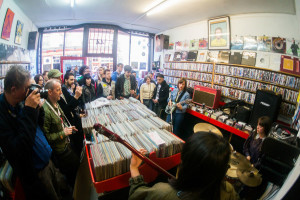For many, the best part of Record Store Day are the indoor gigs. The Abjects performed in a London record store in 2015. (Photo: Paul Hudson)