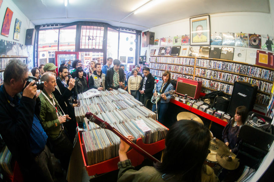Indoor gigs bring alternative bands to spotlight. The Abjects performed in a London record store in 2015. (Photo from Flickr by Paul Hudson)