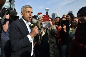 Britain's newly elected mayor Sadiq Khan speaks to supporters as he arrives for his first day at work at City Hall in London, Britain May 9, 2016. (Photo by Hannah McKay, Reuters File Photo)