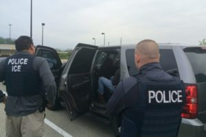 Officers from U.S. Immigration and Customs Enforcement's (ICE) Enforcement and Removal Operations (ERO) are shown during an operation targeting criminal aliens and other immigration violators in Philadelphia, Pennsylvania, United States in this image released May 11, 2016.   Courtesy ICE/Handout via REUTERS