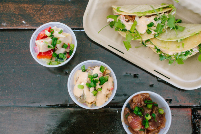 A sampling of poké tacos and other fish dishes offered at Sam Choy's Poké to the Max's stationary location at 5300 Rainier Avenue S. in Hillman City. (Photo by Jovelle Tamayo)