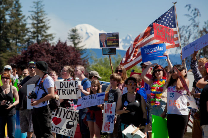 Hundreds of protestors demonstrated at Republican presidential candidate Donald Trump's rally on May 7, 2016 at the Northwest Washington Fair and Event Center in Lynden, Wash. (Photo by Jovelle Tamayo.)