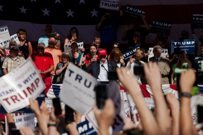 Republican presidential nominee Donald Trump speaks to supporters at the Northwest Washington Fair and Event Center on May 7, 2016 in Lynden. (Photo by Jovelle Tamayo.)