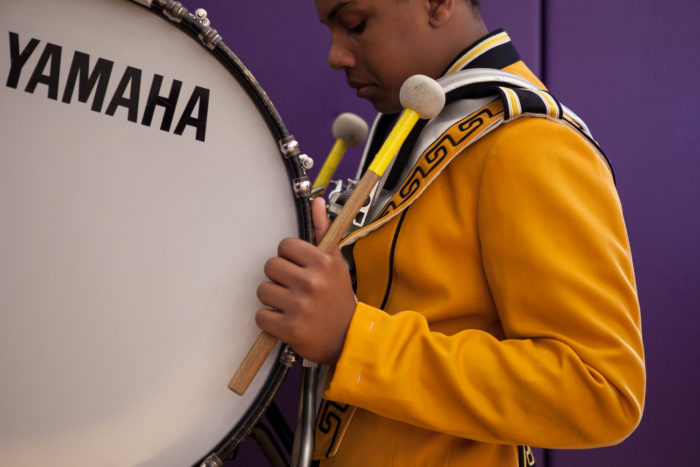 A member of Lincoln High SchoolÕs Junior Varsity drumline team prepares to perform at Garfield High SchoolÕs 8th Annual Bulldog Drumline Expo (BDX) on Saturday, May 28, 2016. The Garfield High School BDX is the largest drumline competition in Washington State. (Photo by Jovelle Tamayo)