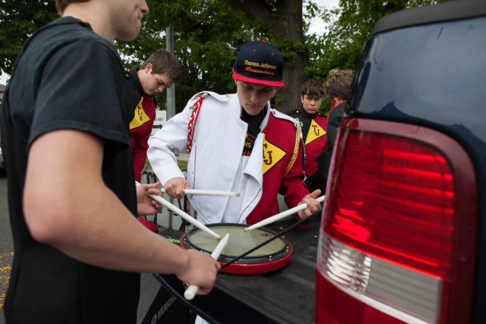 Members of the Thomas Jefferson High School drumlins prepare to compete at Garfield High SchoolÕs 8th Annual Bulldog Drumline Expo (BDX) on Saturday, May 28, 2016 at the high schoolÕs gymnasium. The Garfield High School BDX is the largest drumline competition in Washington State. (Photo by Jovelle Tamayo)