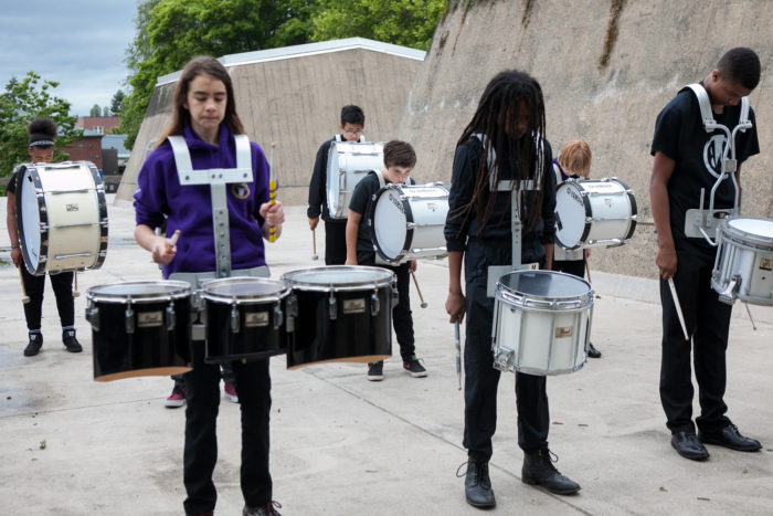 The Washington Middle School drumline practices their routine before competing at Garfield High SchoolÕs 8th Annual Bulldog Drumline Expo (BDX) on Saturday, May 28, 2016. The Garfield High School BDX is the largest drumline competition in Washington State. (Photo by Jovelle Tamayo)