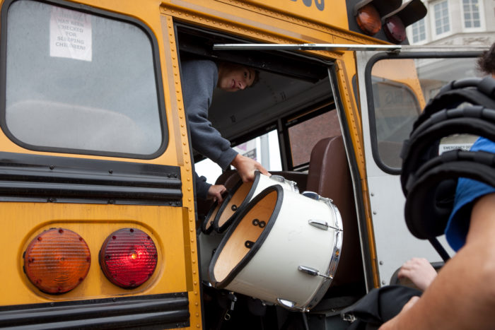 Ingraham High School drumline members unload equipment before competing at Garfield High SchoolÕs 8th Annual Bulldog Drumline Expo (BDX) on Saturday, May 28, 2016. The Garfield High School BDX is the largest drumline competition in Washington State. (Photo by Jovelle Tamayo)