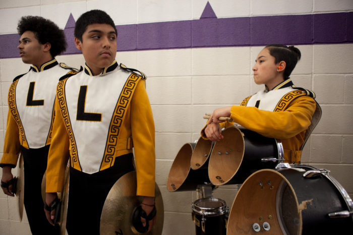 Members of Lincoln High SchoolÕs Junior Varsity drumline team wait to perform at Garfield High SchoolÕs 8th Annual Bulldog Drumline Expo (BDX) on Saturday, May 28, 2016. The Garfield High School BDX is the largest drumline competition in Washington State. (Photo by Jovelle Tamayo)