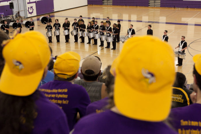 The Lake Stevens High School drumline watches the Glacier Peak High School drumline perform at Garfield High SchoolÕs 8th Annual BDX on Saturday, May 28, 2016. The Garfield High School BDX is the largest drumline competition in Washington State. (Photo by Jovelle Tamayo)