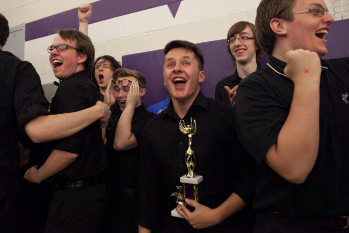Members of the Glacier Peak High School drumline celebrate after receiving the first place award in the 8th Annual Bulldog Drumline Expo (BDX) on Saturday, May 28, 2016. The Garfield High School BDX is the largest drumline competition in Washington State. The Garfield High School BDX is the largest drumline competition in Washington State. (Photo by Jovelle Tamayo)